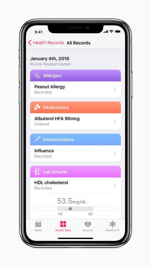 iOS 11.3 Health Records